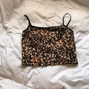 American Apparel Leopard Cropped Tank