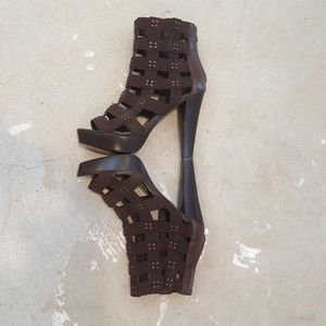 Zigi Soho Shoes - Zigi Soho Brown Stud Platform Heels