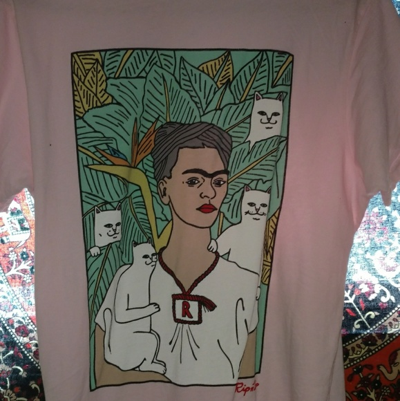 37b0a2d8b05837 RipNDip Tops | Pastel Pink Frida Kahlo Tee | Poshmark