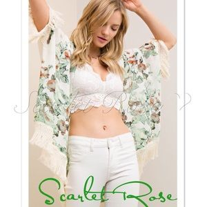 Scarlet Rose Boutique Other - 🌹Ivory & Green Floral Silky Wrap (or Kimono)🌹