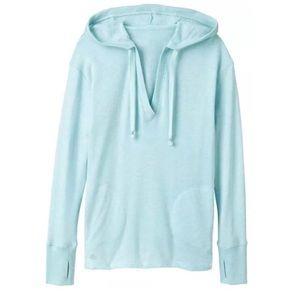 Athleta Tops - ATHLETA Tiffany Heather blue v-neck hoodie