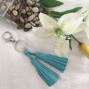 B-Long Boutique Handbags - Turquoise Faux Leather Tassel Bag Charm/KeyChain