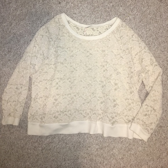 Free People Tops - Free People lace sweatshirt