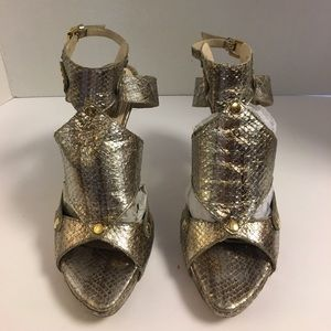 Christian Dior Shoes - Christian Dior gold metallic python platform heels