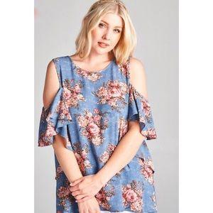 Tops - Blue floral cold shoulder top plus size