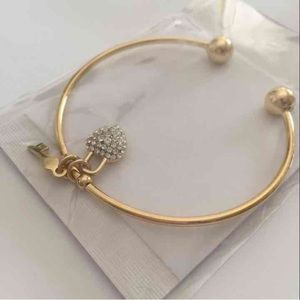 Swarovski Crystal & Gold Heart Key Charm Cuff