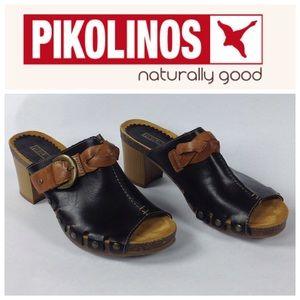PIKOLINOS Shoes - PIKOLINOS Black & Tan Mules Size 10/39