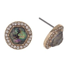 Abalone Hexagon Post Earrings