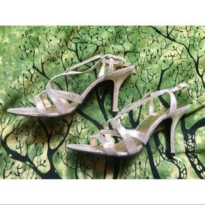 Kelly & Katie Shoes - Metallic Leather Sandal Heels