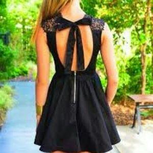 637d052869 Charlotte Russe Dresses - CHARLOTTE RUSSE Lace Mock Neck Skater Dress Black