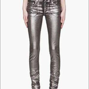 R 13 Denim - R 13 metallic silver skinny jeans