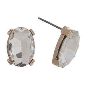 👂🏼Clear Oval Gem Post Earrings-Gold Tone
