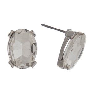 👂🏼Clear Oval Gem Posts-Silver Tone