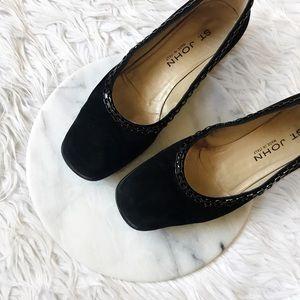 St. John Shoes - • St. John • Black Suede Kitten Heels