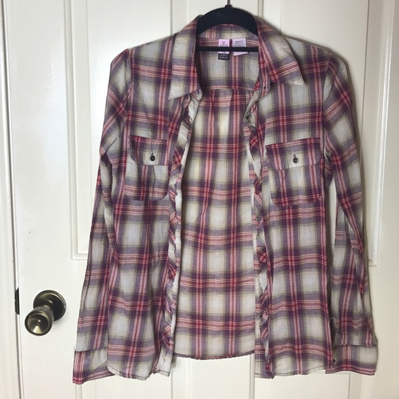 43 Off Love On A Hanger Tops Red Purple Plaid Button