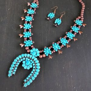 Copper & Turquoise Squash Blossom Necklace