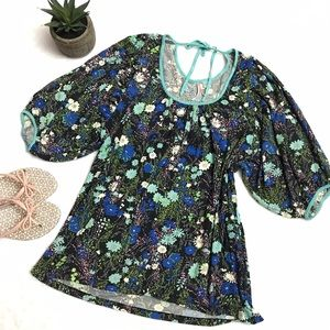 Anthropologie Tops - ANTHROPOLOGIE Blue Floral Boho Peasant Top Blouse