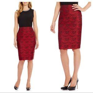 Calvin Klein red pencil skirt