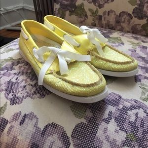 Sperry Top-Sider Shoes - Sperry Yellow Sequin Boat Shoes, Size 8M