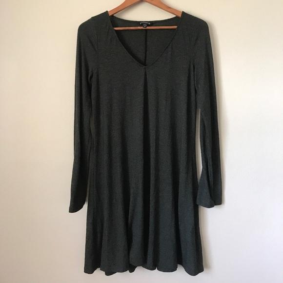 f2ebf129f023 Express Dresses | Dark Green Long Sleeve Cotton Swing Dress | Poshmark
