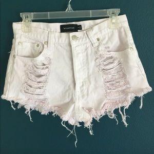 MINKPINK Pants - MINKPINK Denim Cutoff High Waisted Jean Shorts