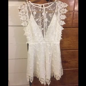 blossom Pants - White lace romper. Never worn and NWT!