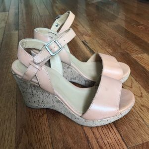 APC Light Tan leather Cork Wedge Sandal Sz 38