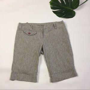 Pants - Tan and white pin stripped Bermuda shorts SZ S