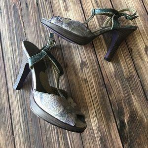 kenzie Shoes - Kenzie T-Strap Bohemian Lavender Heels with Studs