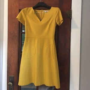 Boden boden scoop neck ruched midi dress orange size 4l for Boden yellow