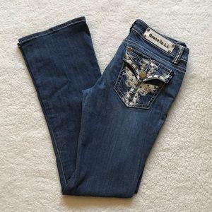 Grace Denim - Grace LA Cross Flap Rhinestone Embellished Jeans