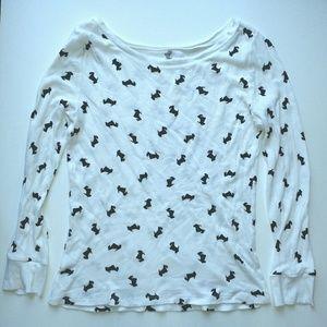 LOFT Tops - LOFT Black Schnauzer Print White Long Sleeve Shirt