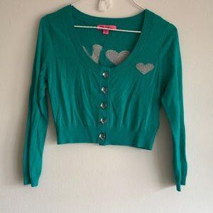 Teal crop love sweater