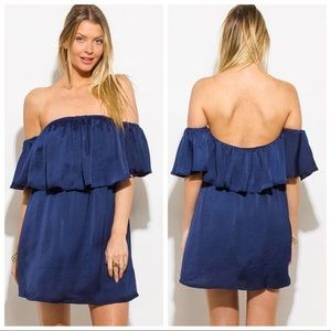 Dresses & Skirts - Satin Off the Shoulder Mini Dress