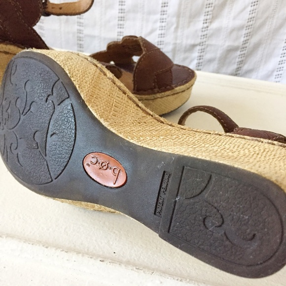 Born Boc Born Brown Leather Wedge Sandals Size 9 9 5