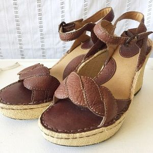 BOC BORN Brown Leather Wedge Sandals size 9 9.5