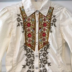 Johnny Was Tops - Johnny Was 3J Embroidered Western Shirt