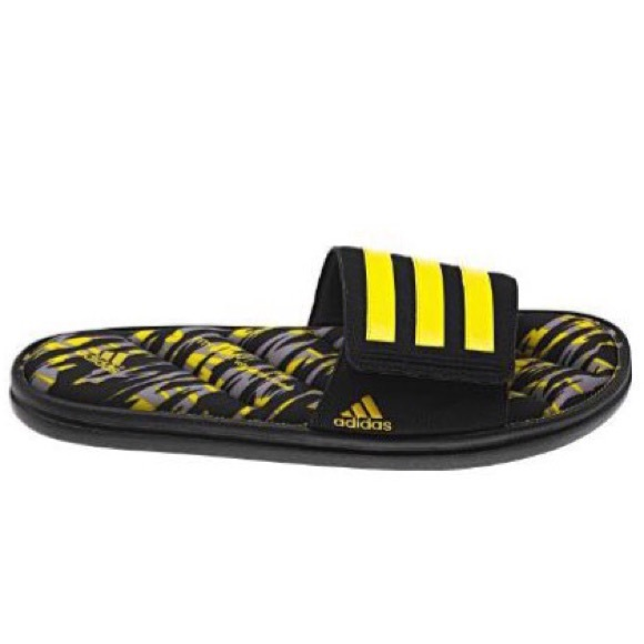 3b51fb9f542cc adidas Other - Adidas Zeitfrei Fitfoam Camo Slide Black Yellow