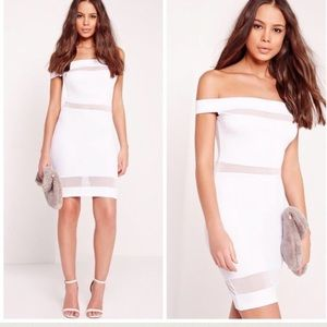 Missguided Dresses & Skirts - NWT Missguided White Mesh Bardot Dress