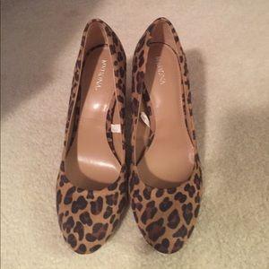 Leopard block heels