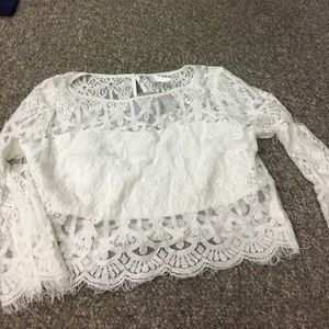 Andree Tops - Andree white lace crop top