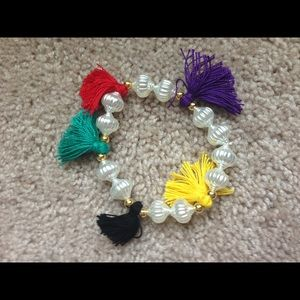 Colorful tassel bracelet with white beads