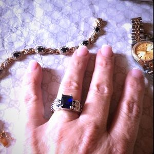 Kay Jewelers Jewelry - BLUE SAPPHIRE & WHITE TOPAZ SILVER RING