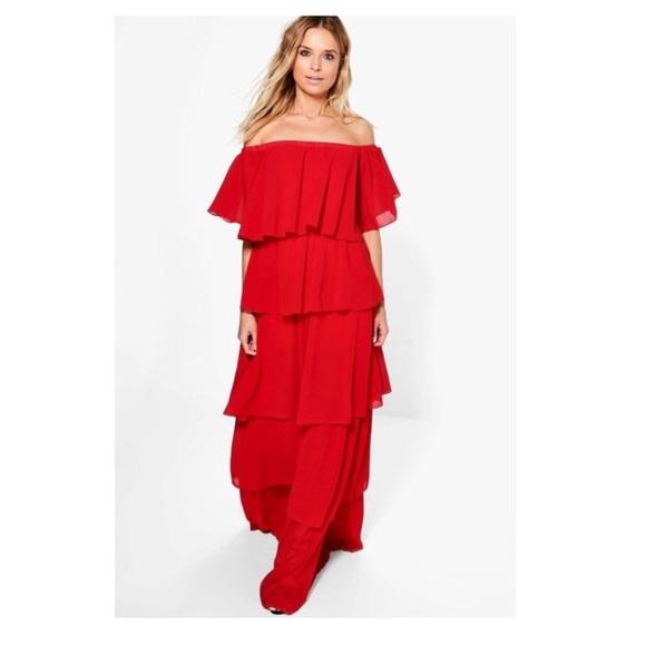 0c545300966d Off the Shoulder Ruffled Maxi Dress (Red)
