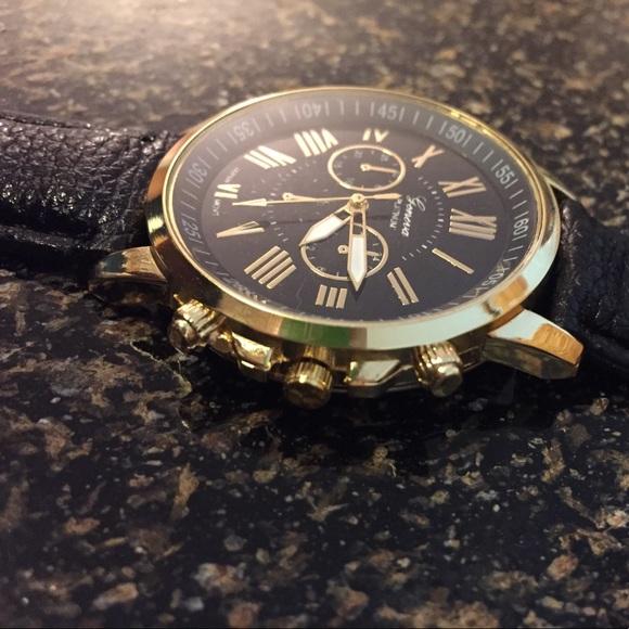 geneva black single men Men's rhodium plated geneva chronograph style watch features a  geneva men's fmdjm500a analog display japanese quartz black watch by  single-use avg customer .