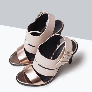 Zara High Heel Sandal Rose Gold & Pink
