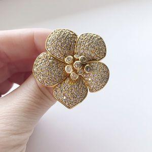 Ariella Jewelry - Ariella Collection Gold Flower Statement Ring SATC