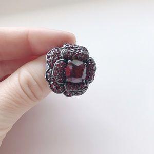 Ariella Jewelry - Ariella Collection Ruby Hematite Swarovski Ring