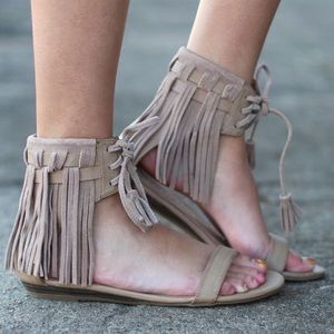 Cream Boho Chic Fringe Ankle Strap Sandals