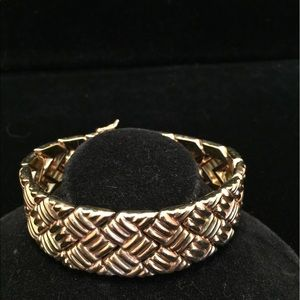 Jewelry - Weave Design Thick Gold Sterling Silver Bracelet.